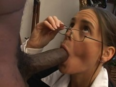 Brunette hair cougar can't live without to choke on a bbc