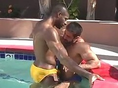 Sexy homosexual sex by the pool
