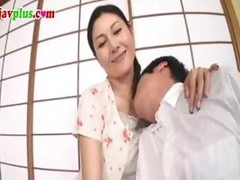 Censored episode of a Japanese MILF fucking a much younger chap