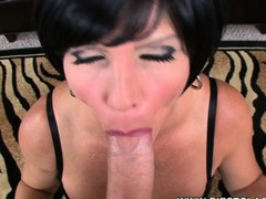 Breasty starlet Shay Fox deep-throats a large gumshoe in a POV movie