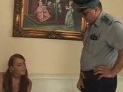 Granddad cop copulates legal age teenager