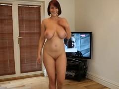 Obscene Dancing: Unclad Breasty Brit Undress