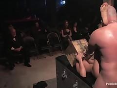 Beauties genuflect beside raunchy congress slave underworld in S&M erotic dream.