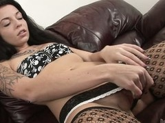 Brunette hair in nylons Aria Aspen masturbating hard