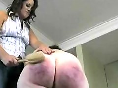 Painful drubbing for BBW brunette hair