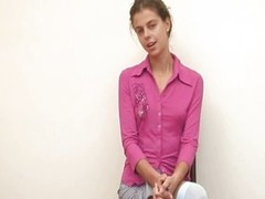 Petite titted cuttie disrobes in office