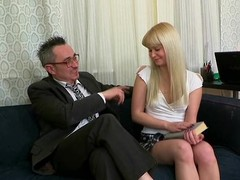 Fascinating darling is delighting old teacher with irrumation sucking