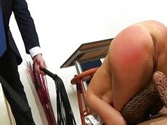 Redhead chick spanked wits coach