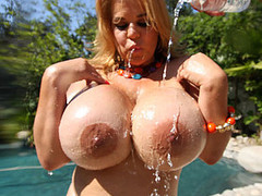 Crystal Storm's heavy milk cans are recent and breezy out in the sun, catching some rays and having some giant titty fun. We measured her love bubbles and not quite ran out of measuring tape! Playing with herself getting off on dildos and ball gags, this incredible sexually excited huge breasted floozy is beyond perverted when it comes to getting off!