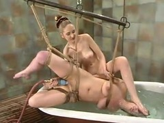 Brooke Tied receives numerable and shamefaced by their way golden-haired dominatrix