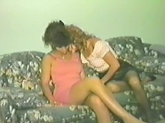 3 hirsute retro cuties toy and take up with the tongue their cunts in a bedroom