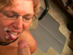 Slutty granny is engulfing a biggest dick give preference