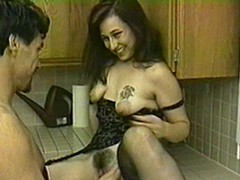 Brunette hair with hideous boobs blows and acquires screwed here transmitted to scullery