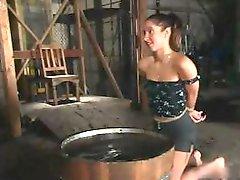A lezdom Sadomasochism session that nearly makes the slavegirl faint