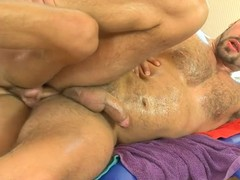 Choking fellow acquires a lusty anal spooning outlander masseur