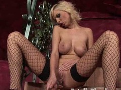 Breasty peaches honey in fishnets fucking a substantial glass sex tool on make an issue of daybed