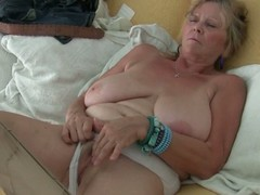 Granny about large specific masturbates in hose