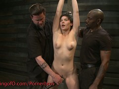 Short haired babe punished abiding