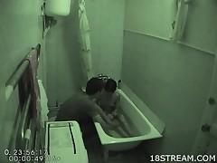 Amateur pair manages back have a fun hawt sex medial the undersized bath