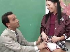 Charming schoolgirl drilled