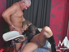 A patriarch swinger gets pinned down, licked and fucked hard wide of the rest of the gang.
