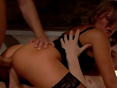 Curvy blond chick Katia taking twosome ramrods convenient two time