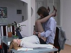 Red sexy female co-worker in smooth tights holding working fucking collision